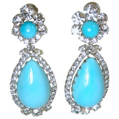 """Signed Robert Sorrell """"One-of-a-Kind"""" Faux Turquoise & Crystal Dangling Earrings"""