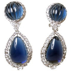"""Signed Robert Sorrell """"One-Of-A-Kind"""" Sapphire Blue & Crystal Drop Earrings"""