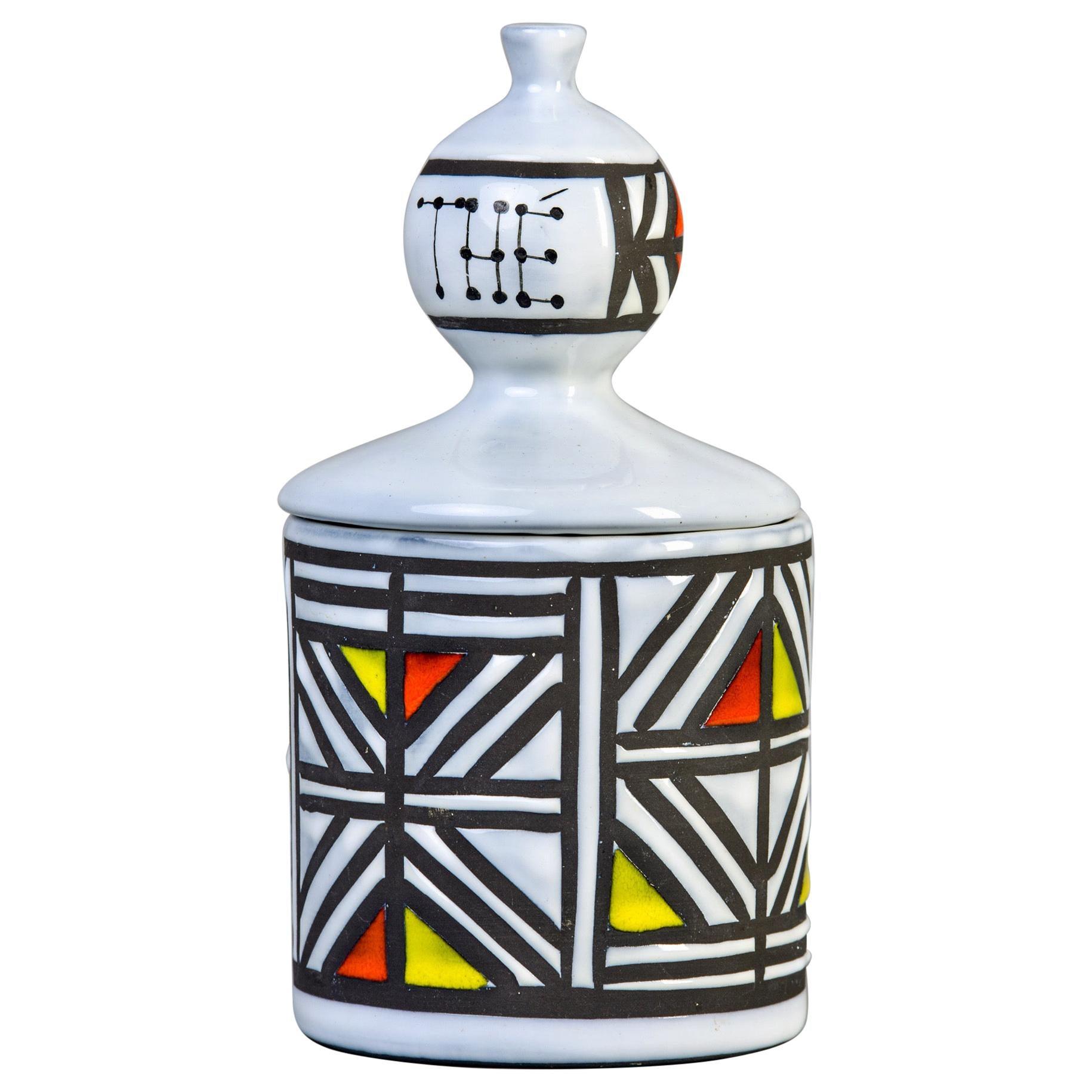 Signed Roger Capron Ceramic Tea Canister Vallauris France