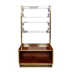 Signed Romeo Rega Brass Chrome and Lucite Bookshelf with Burl Walnut Base
