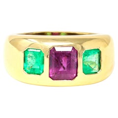 Ruby and Emerald Three Stone Gipsy Ring