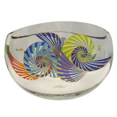 Signed Rosenthal Crystal Bowl with Enamel Decoration