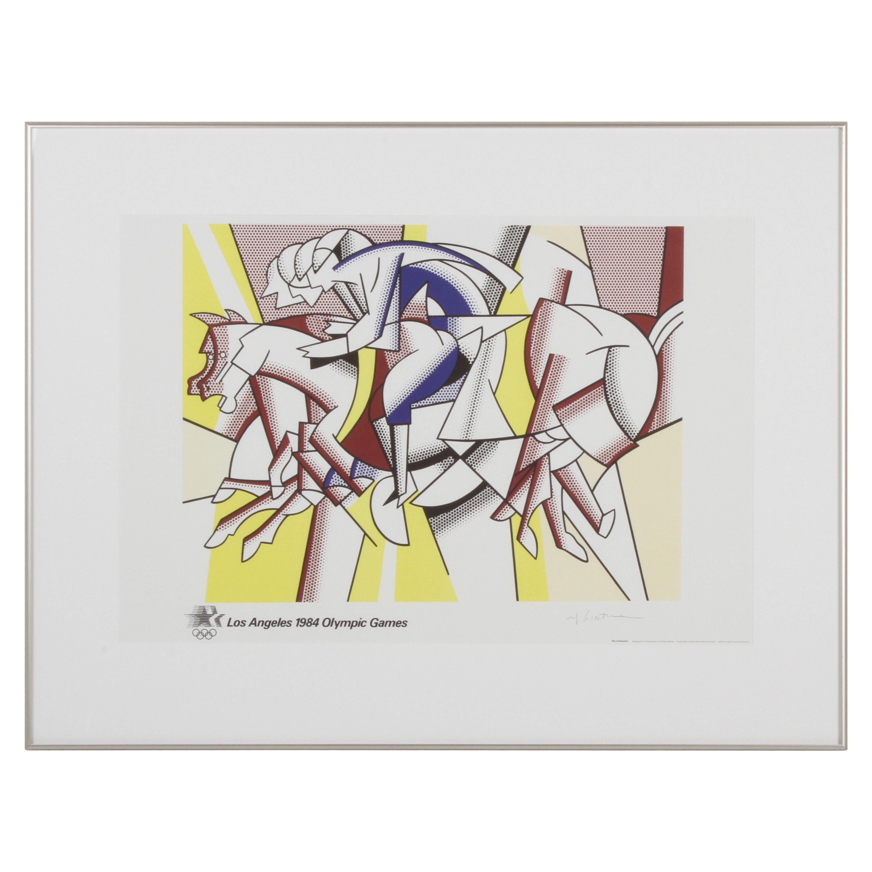 Signed Roy Lichtenstein 1984 Los Angeles Olympic Poster Original Red Horseman