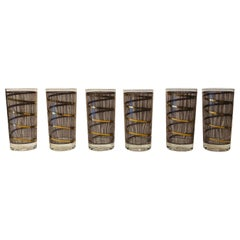 Signed S/6 Mid-Century Modern Georges Briard Gilt Smoked Glass Cocktail Glasses