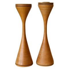Signed Scandinavian Modern Handcrafted Turned Wood and Brass Candleholders, Pair