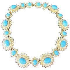 Signed SCASSI Designer Faux Turquoise Sparkling Ice Crystal Floral Link Necklace