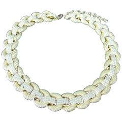 Signed SCASSI Designer Golden Rope Link Crystal Necklace