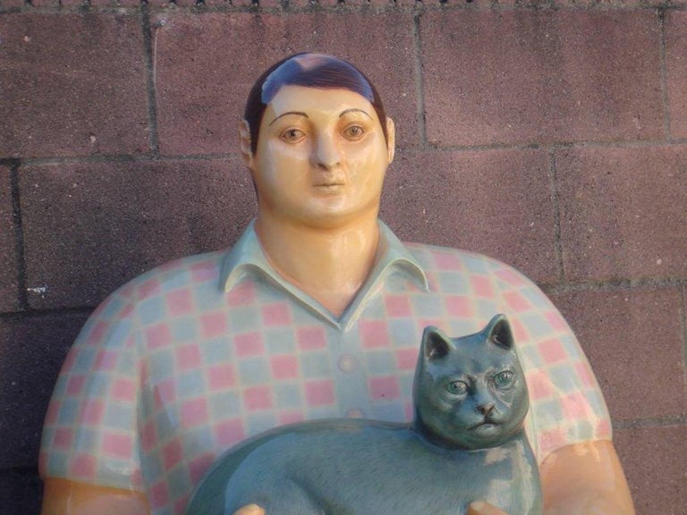 Very rare life-sized papier mâché sculpture of boy with cat by Mexican artist, Sergio Bustamante - this is a beautiful example of Bustamantes work and a reminiscent nod to Fernando Botero.