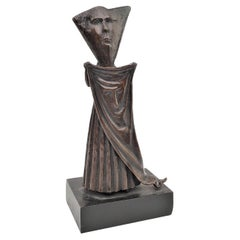 Signed Sergio Bustamante Stylized Robed Figurative Bronze Sculpture #103.200