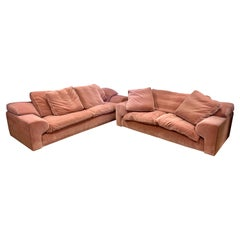 Signed Set of Roche Bobois Sofa and Matching Loveseat in Pale Pink Velvet