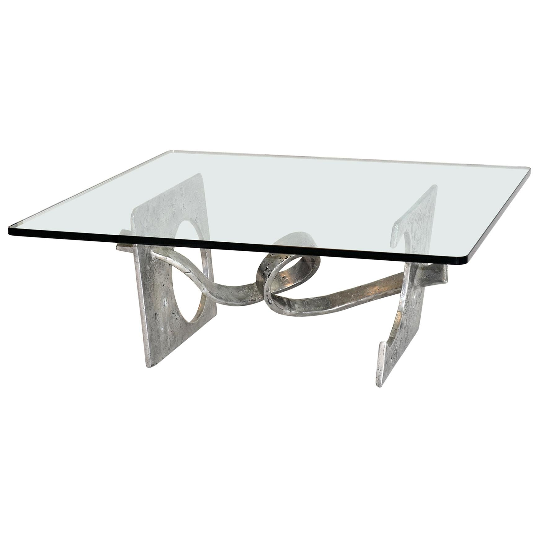 """Signed Silas Seandel 'Knot"""" Cocktail Aluminum Coffee Table 1970's"""