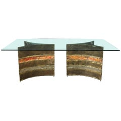 Signed Silas Seandel Midcentury Brutalist Copper, Aluminum & Brass Dining Table