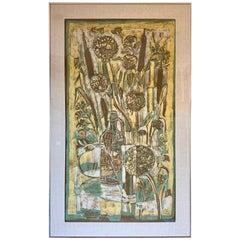 Signed Silk Batik Textile Contemporary Art Painting 1950s Framed