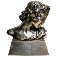 Signed Silvered Bronze Art Nouveau Bust of a Woman