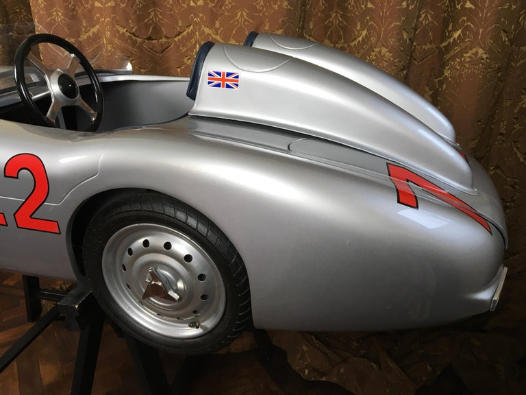 Stainless Steel 1/2 Scale Mercedes-Benz 300 SLR 722 Junior Car, Signed by Sir Sterling Moss  For Sale