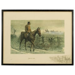 Signed Snaffles WW I Military Print, Fox Hunting Print, Tally-Ho Back
