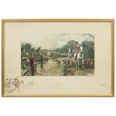 Signed Snaffles WW II Military Print, Fox Hunting Print, The Season, 1939-40