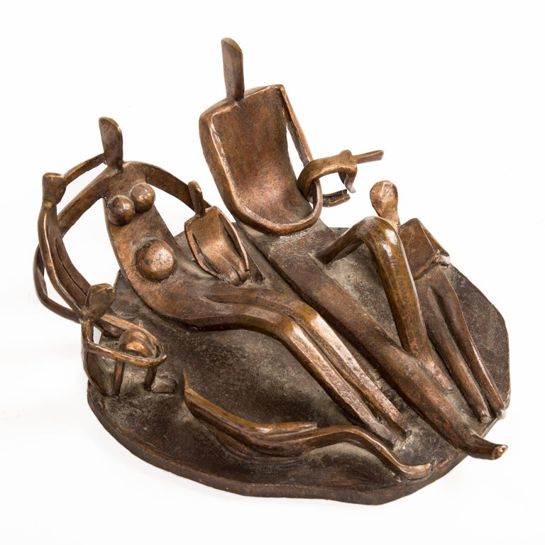Modern Signed Solid Bronze Cubist Sculpture of Family by Dudley Pratt For Sale