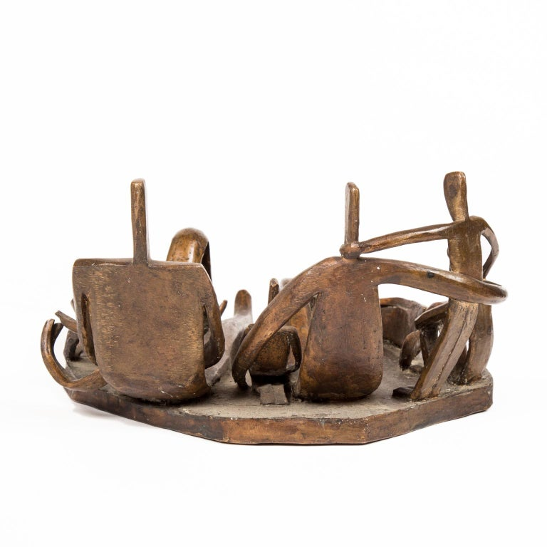 Signed Solid Bronze Cubist Sculpture of Family by Dudley Pratt In Good Condition For Sale In Denver, CO