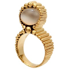 Signed Space Age 18 Karat Gold and Moonstone Cocktail Ring by F. J. Cooper