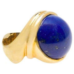 Signed Stefani Italian Cabochon Lapis Lazuli Cocktail Ring in 18 Karat Gold