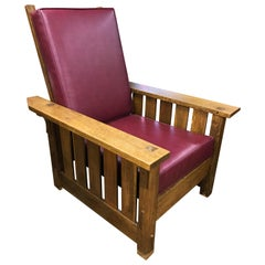 Signed Stickley Oak Mission Morris Chair with Leather Pad Upholstery