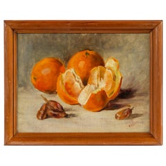 Signed Still Life Painting of Oranges and Dates, Oil on Board
