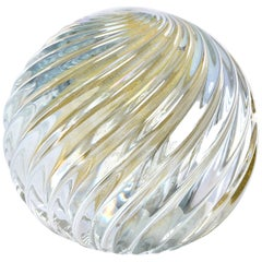 Signed Swirled Seguso Murano Glass Paperweight