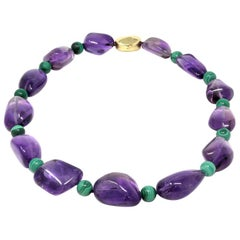 Signed Tambetti Amethyst and Malachite Beaded Necklace with 18 Karat Clasp