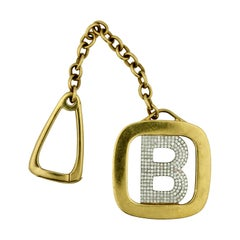 Signed Tiffany & Co., 18 Kt Gold and Diamond Key Chain Designed as the Letter B