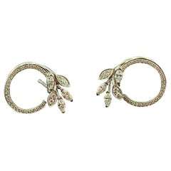 "Signed Tiffany & Co. Victoria ""Vine Circle"" Diamond Earrings"