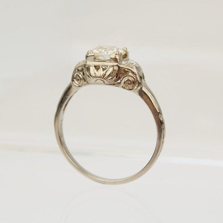 Traub Orange Blossom Art Deco 18 Karat Gold and Diamond Engagement Ring For Sale 5