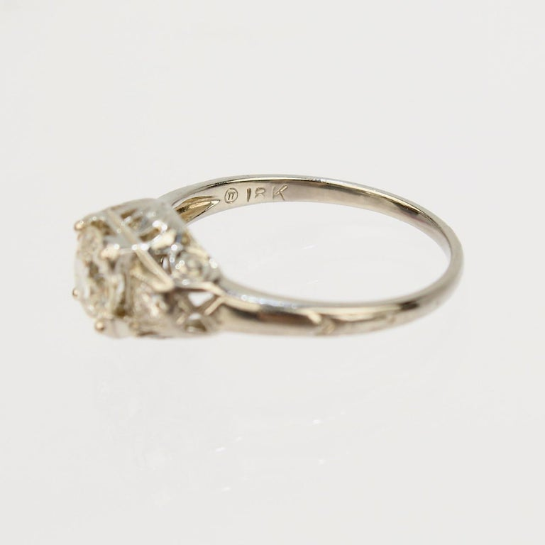 Traub Orange Blossom Art Deco 18 Karat Gold and Diamond Engagement Ring For Sale 6