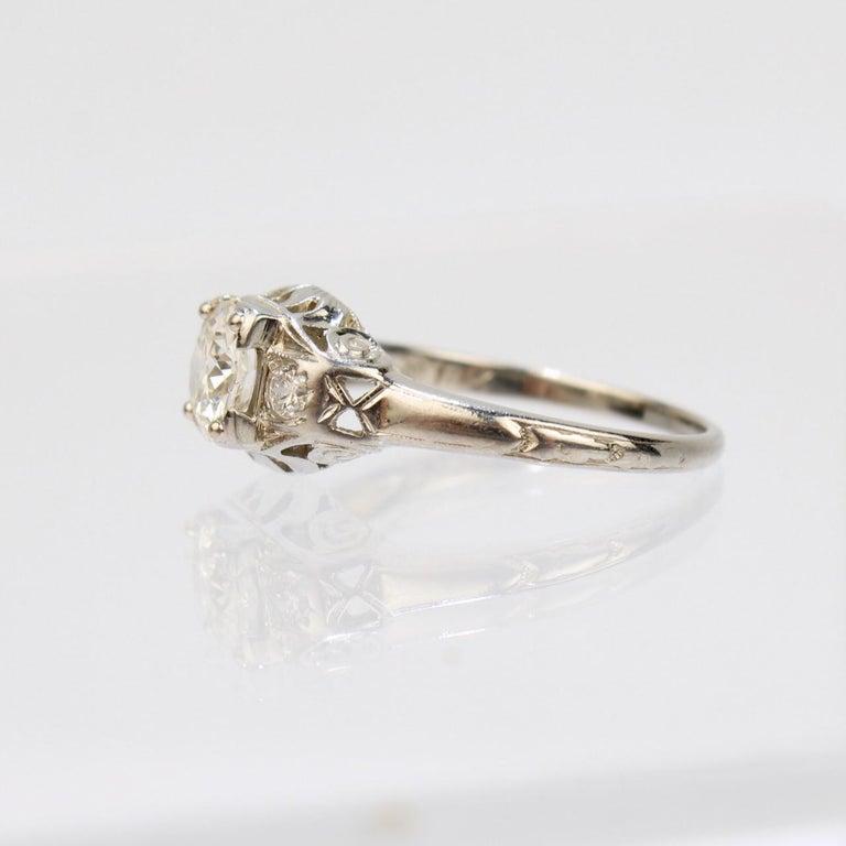 Women's Traub Orange Blossom Art Deco 18 Karat Gold and Diamond Engagement Ring For Sale