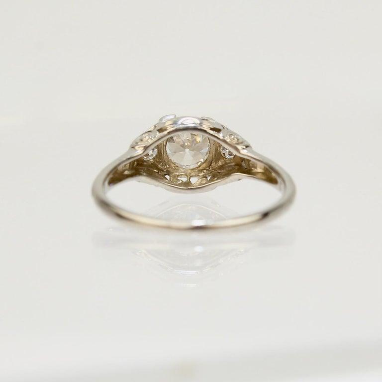 Traub Orange Blossom Art Deco 18 Karat Gold and Diamond Engagement Ring For Sale 1