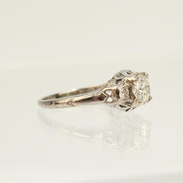 Traub Orange Blossom Art Deco 18 Karat Gold and Diamond Engagement Ring For Sale 3