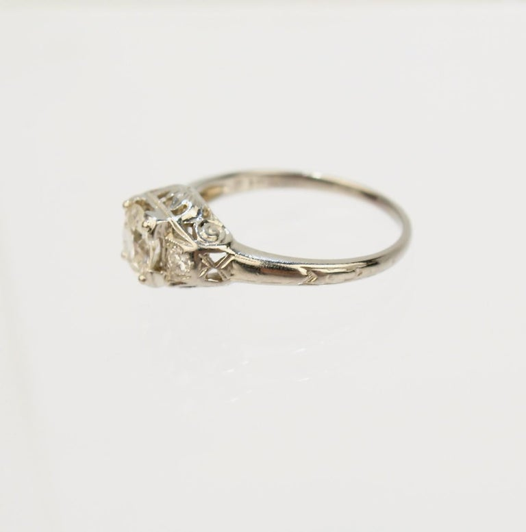 Traub Orange Blossom Art Deco 18 Karat Gold and Diamond Engagement Ring For Sale 4