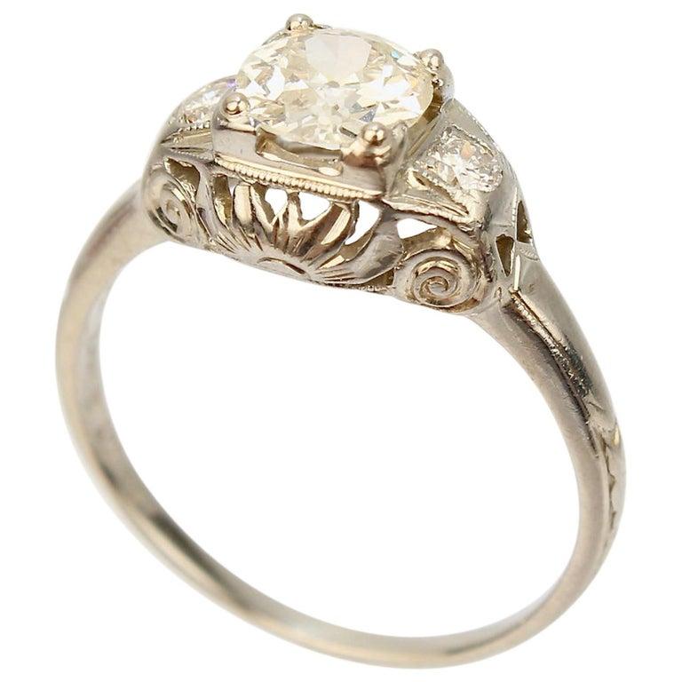 Traub Orange Blossom Art Deco 18 Karat Gold and Diamond Engagement Ring For Sale