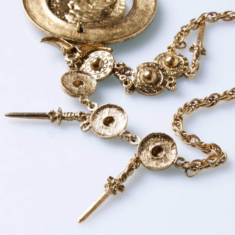Signed Trifari 1970s Gold Tone Viking Runway Necklace with Swords + Shields In Excellent Condition For Sale In Sparks, NV