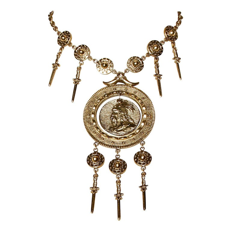 Signed Trifari 1970s Gold Tone Viking Runway Necklace with Swords + Shields For Sale