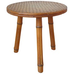 Signed Tripod Bamboo and Rattan Side Table by Bergon Anduze, France, 1970s