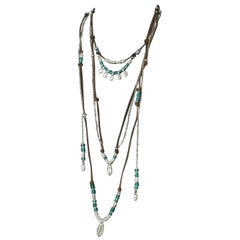 Signed Uno De 50 Turquoise Murano Glass Bead Multi Tier Silver Leather Necklace