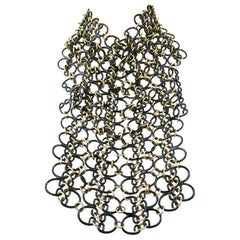 Signed VALENTINO Designer Black and Golden Link Chain Bib Necklace Italy