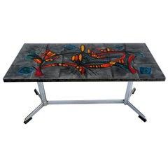 Signed VALLAURIS Polished Steel & Ceramic Tiles La Grange Coffee Table France 50