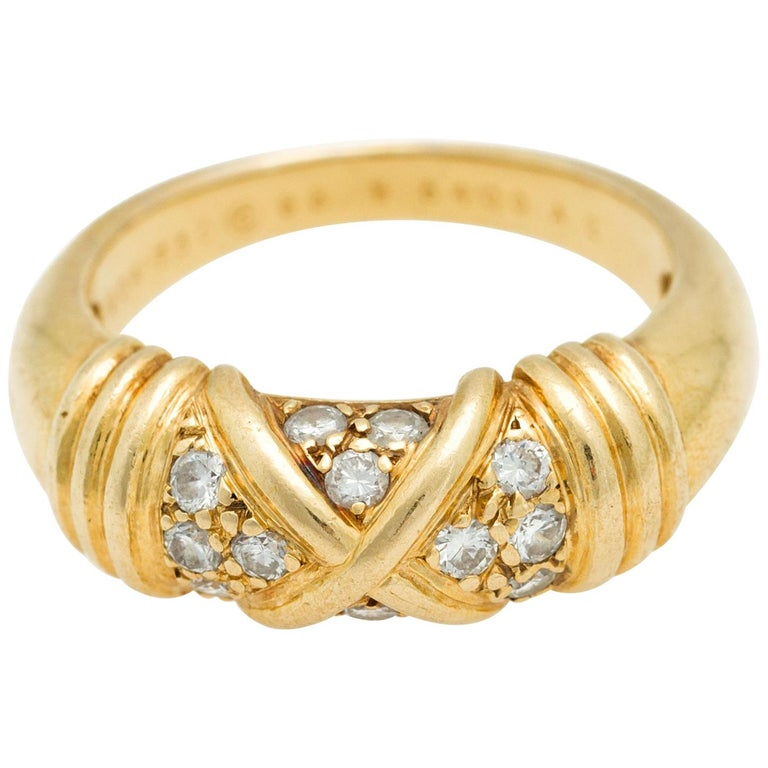 Signed Van Cleef & Arpels Diamond Band Ring in 18 Karat Yellow Gold For Sale