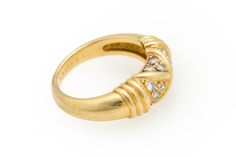 Signed Van Cleef & Arpels Diamond Band Ring in 18 Karat Yellow Gold For Sale 6