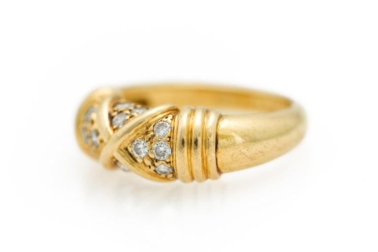 Women's Signed Van Cleef & Arpels Diamond Band Ring in 18 Karat Yellow Gold For Sale