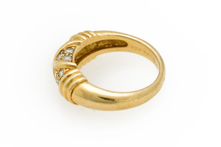Signed Van Cleef & Arpels Diamond Band Ring in 18 Karat Yellow Gold For Sale 1