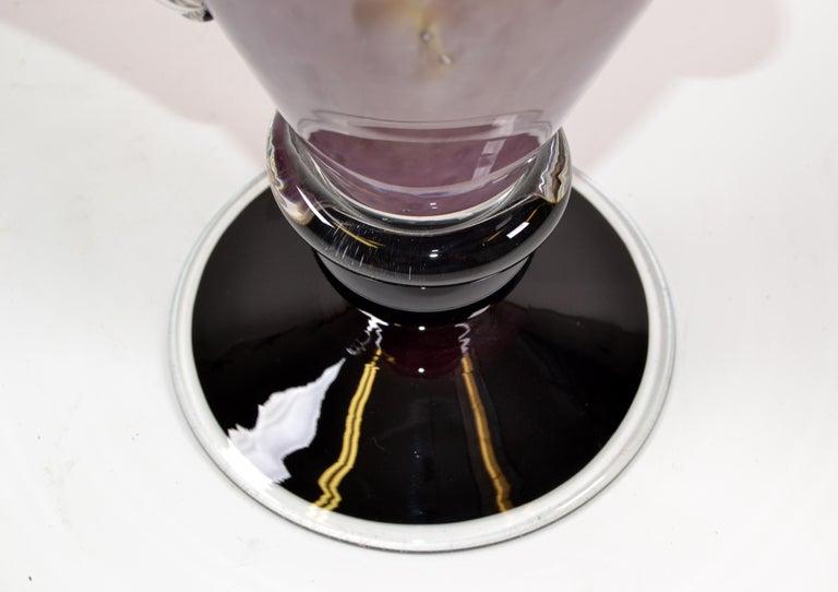 Signed Venetian Murano Purple, Black and Clear Hand Blown Art Glass Flower Vase 4