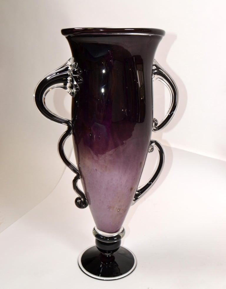 Mid-Century Modern Signed Venetian Murano Purple, Black and Clear Hand Blown Art Glass Flower Vase